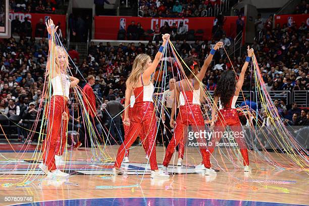 The Los Angeles Clippers dance team performs during the game against the Chicago Bulls on January 31 2016 at STAPLES Center in Los Angeles California...