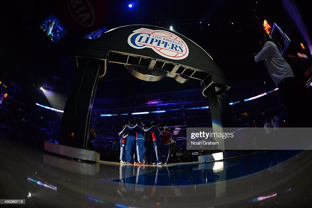The Los Angeles Clippers huddle before a game against the Brooklyn Nets on November 16, 2013 at STAPLES Center in Los Angeles, California.