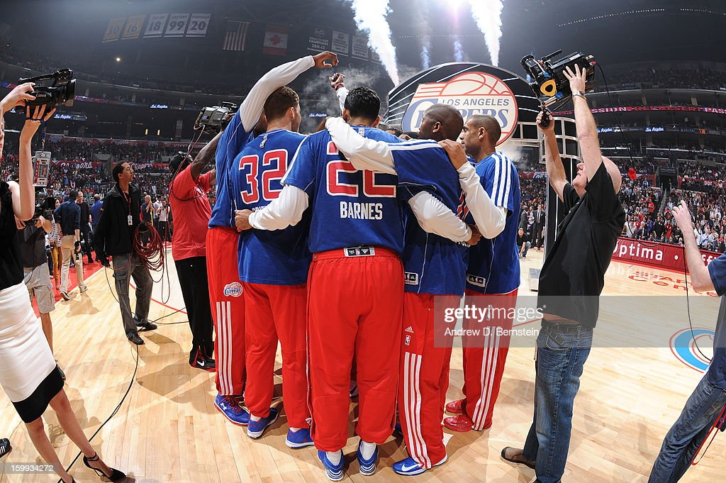 The Los Angeles Clippers huddle before the game against the Oklahoma City Thunder at Staples Center on January 22, 2013 in Los Angeles, California.
