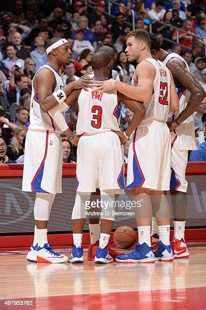 The Los Angeles Clippers huddle during the game against the Golden State Warriors on November 19 2015 at STAPLES Center in Los Angeles California...