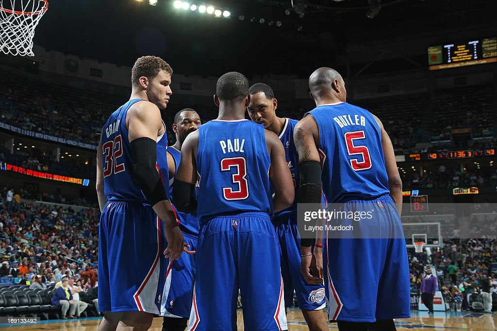 The Los Angeles Clippers huddle during the game against the New Orleans Hornets on April 12, 2013 at the New Orleans Arena in New Orleans, Louisiana.
