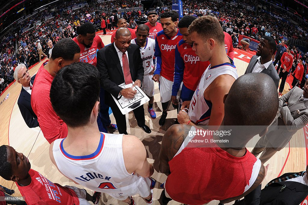 The Los Angeles Clippers huddle together against the Golden State Warriors in Game Five of the Western Conference Quarterfinals at Staples Center on April 29, 2014 in Los Angeles, California.