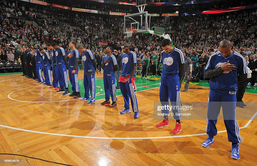 The Los Angeles Clippers line up during the game between the Boston Celtics and the Los Angeles Clippers on February 3, 2013 at the TD Garden in Boston, Massachusetts.