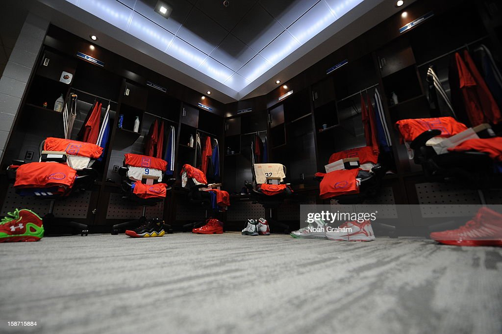 The Los Angeles Clippers locker room is shown before a Christmas Day game against the Denver Nuggets at Staples Center on December 25, 2012 in Los Angeles, California.