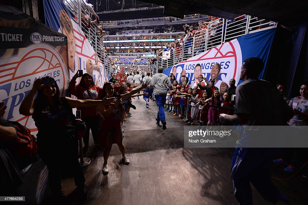 The Los Angeles Clippers make their way out to the court to face the Atlanta Hawks at Staples Center on March 8, 2014 in Los Angeles, California.