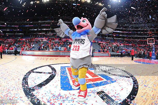 The Los Angeles Clippers mascot entertains the fans after the game against the Portland Trail Blazers in Game Two of the Western Conference...