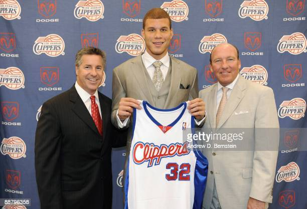 The Los Angeles Clippers number one draft pick Blake Griffin from the University of Oklahoma poses for a photo with Clippers' General Manager and...