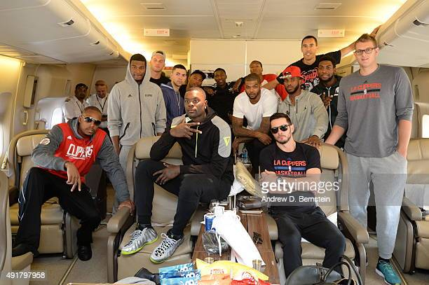 The Los Angeles Clippers poses for a photo on the plane the Los Angeles International Airport on October 7 2015 in Los Angeles California NOTE TO...