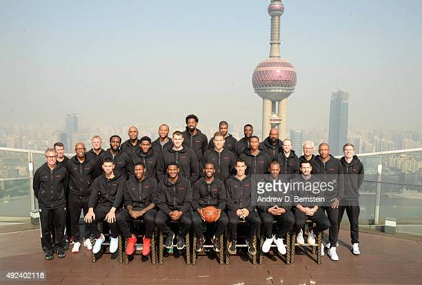 The Los Angeles Clippers poses for a team photo as part of the 2015 NBA Global Games China at the RitzCarlton on October 13 2015 in Shanghai China...