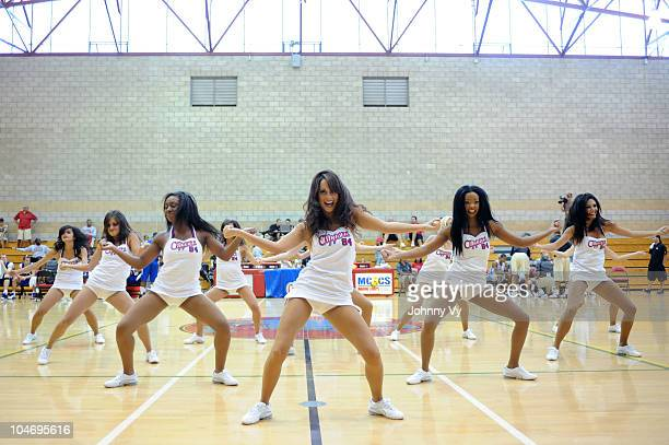 The Los Angeles Clippers Spirit Dance Team performs for the crowd during an open practice for the troops at the Marine Corps Base Camp Pendleton on...