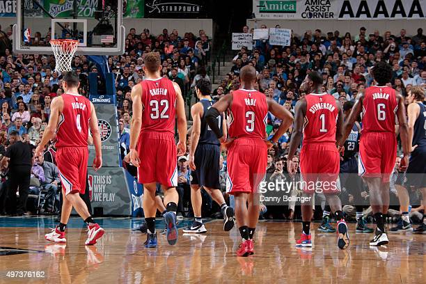 The Los Angeles Clippers walk off the court against the Dallas Mavericks on November 11 2015 at the American Airlines Center in Dallas Texas NOTE TO...