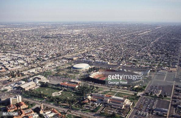 The Los Angeles Coliseum and surrounding University of Southern California are seen in this 1991 Los Angeles California aerial photograph