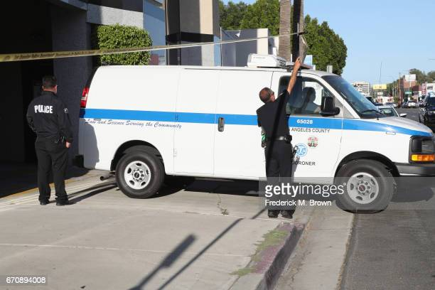 The Los Angeles County Coroner's van leaves the site where singer Cuba Gooding Sr was found dead in his car on April 20 2017 in Woodland Hills...