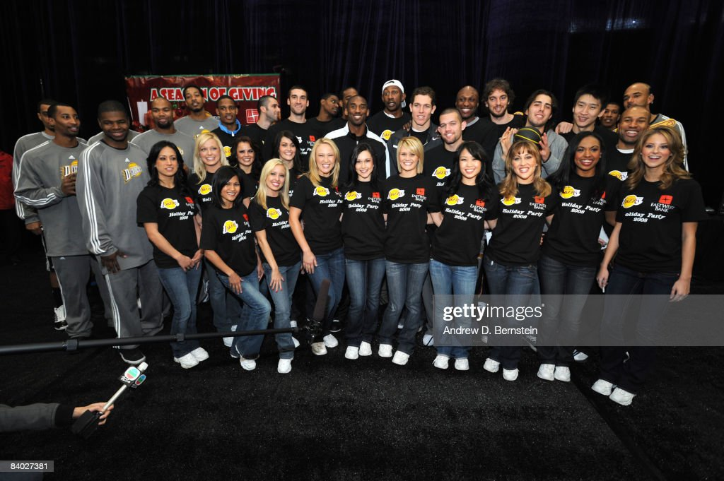 The Los Angeles D-Fenders, Los Angeles Lakers and the Laker Girls pose for a photograph at the 2008 Los Angeles Lakers holiday party at Toyota Sports Center on December 13, 2008 in El Segundo, California.