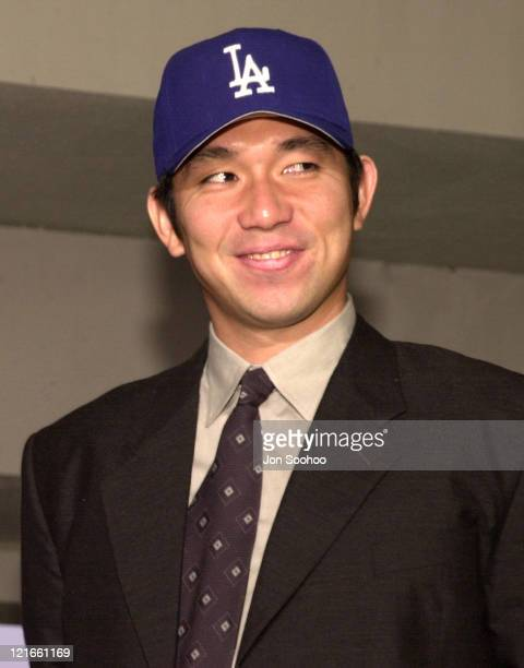 The Los Angeles Dodgers announce the secondtime signing of pitcher Hideo Nomo during press conference at Dodger Stadium Nomo signed a 2 year $13...