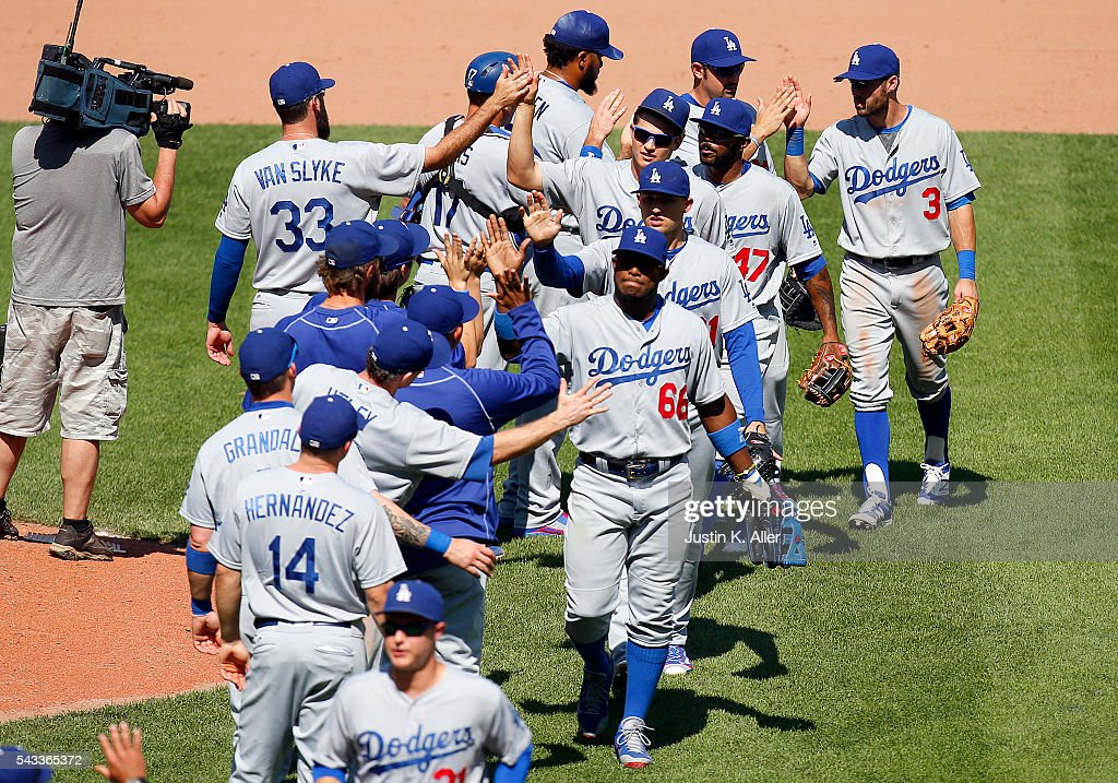 The Los Angeles Dodgers celebrates after defeating the Pittsburgh Pirates 5-4 at PNC Park on June 27, 2016 in Pittsburgh, Pennsylvania.