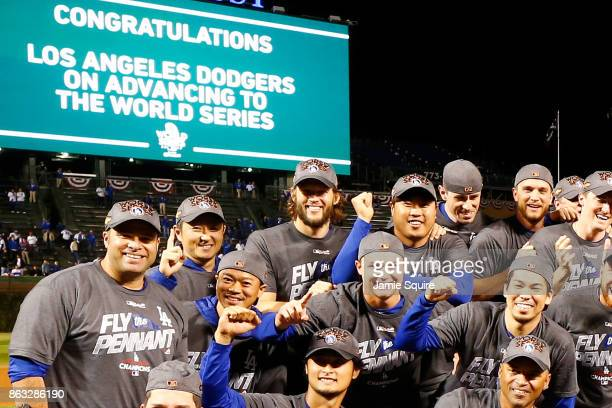 The Los Angeles Dodgers pose after defeating the Chicago Cubs 111 in game five of the National League Championship Series at Wrigley Field on October...