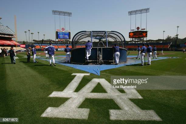 The Los Angeles Dodgers take batting practice prior to their home opener against the San Francisco Giants at Dodger Stadium on April 12 2005 in Los...