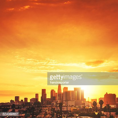 the Los Angeles downtown skyline at sunset