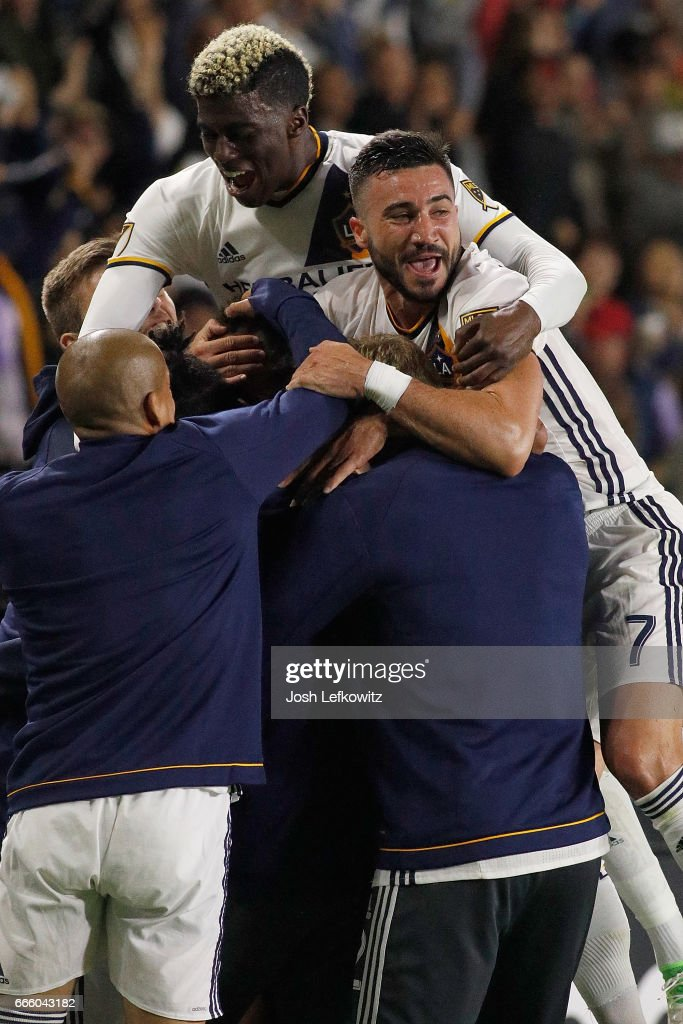 The Los Angeles Galaxy reacts after Jermaine Jones #13 scores the second goal of the night during the Los Angeles Galaxy's MLS match against Montreal Impact at the StubHub Center on April 7, 2017 in Carson, California.