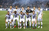 The Los Angeles Galaxy starting eleven pose for a photo before the match against the Chicago Fire at StubHub Center on March 6 2015 in Los Angeles...