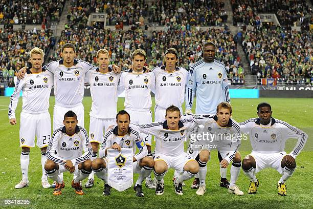 The Los Angeles Galaxy starting eleven pose for the team photo prior to the start of their MLS Cup game against Real Salt Lake at Qwest Field on...