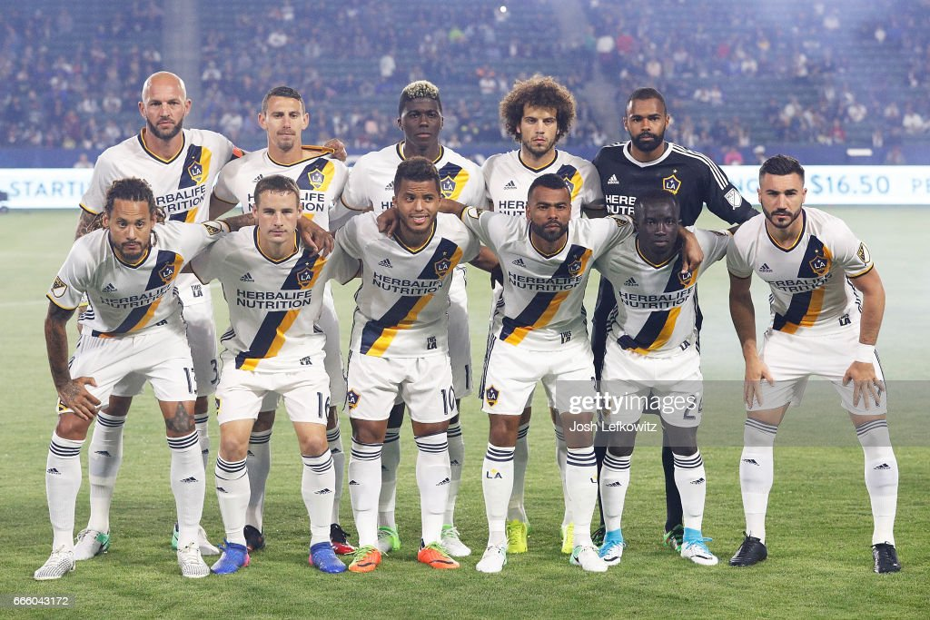 The Los Angeles Galaxy starting lineup for the Los Angeles Galaxy's MLS match against Montreal Impact at the StubHub Center on April 7, 2017 in Carson, California.