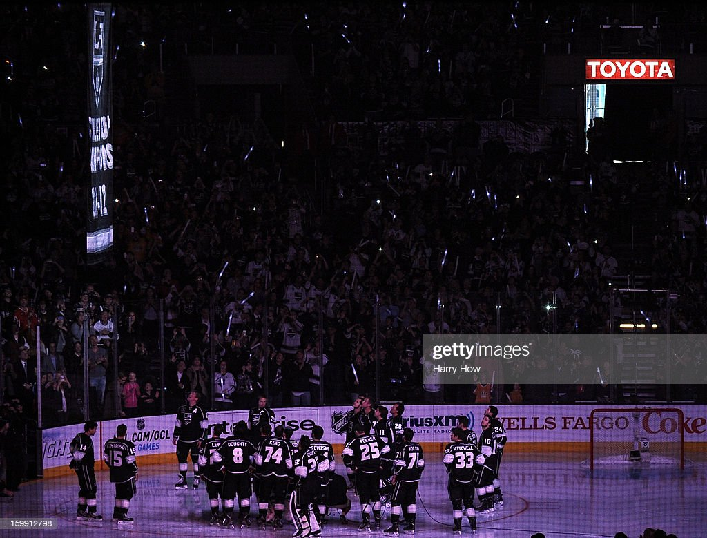 The Los Angeles Kings 2001-12 Stanley Cup banner is raised during a ceremony before the NHL season opening game against the Chicago Blackhawks at Staples Center on January 19, 2013 in Los Angeles, California.