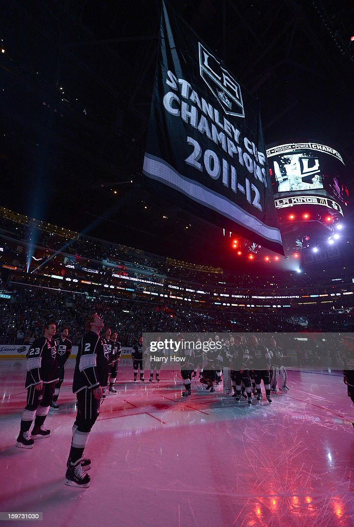 The Los Angeles Kings 2011-12 Stanley Cup banner is raised during a ceremony before the NHL season opening game against the Chicago Blackhawks at Staples Center on January 19, 2013 in Los Angeles, California.