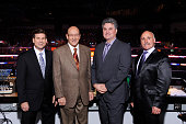 The Los Angeles Kings broadcast team Jim Fox Bob Miller Nick Nickson and Daryl Evans pose for a photo prior to a game between the Los Angeles Kings...