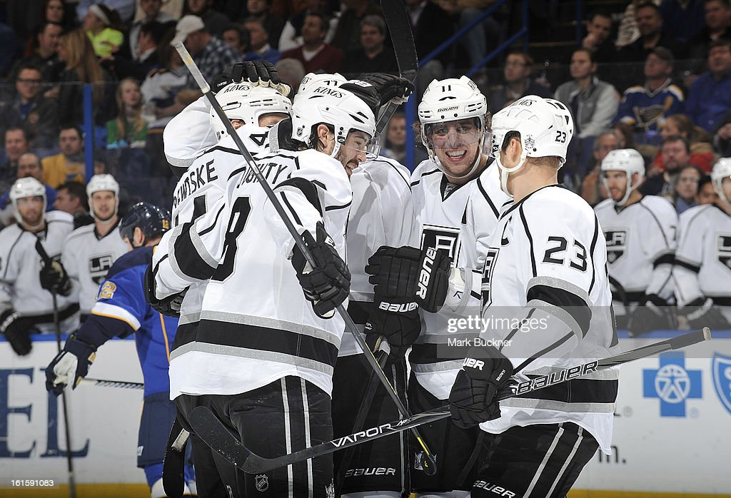 The Los Angeles Kings celebrate a goal in an NHL game against the St. Louis Blues on February 11, 2013 at Scottrade Center in St. Louis, Missouri.