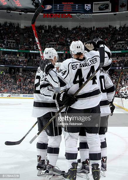 The Los Angeles Kings celebrate a second period goal against the Anaheim Ducks on February 28 2016 at Honda Center in Anaheim California