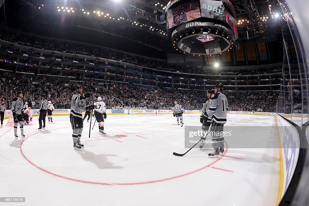 The Los Angeles Kings celebrate after a goal against the Anaheim Ducks at Staples Center on April 12, 2014 in Los Angeles, California.