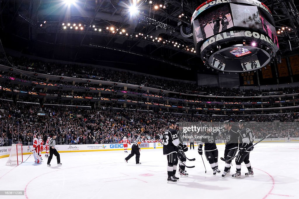The Los Angeles Kings celebrate after a goal against the Detroit Red Wings at Staples Center on February 27, 2013 in Los Angeles, California.