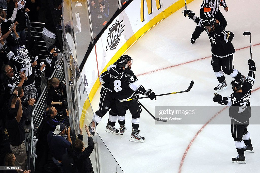 The Los Angeles Kings celebrate after a goal against the New Jersey Devils in Game Three of the 2012 Stanley Cup Final at Staples Center on June 4, 2012 in Los Angeles, California.