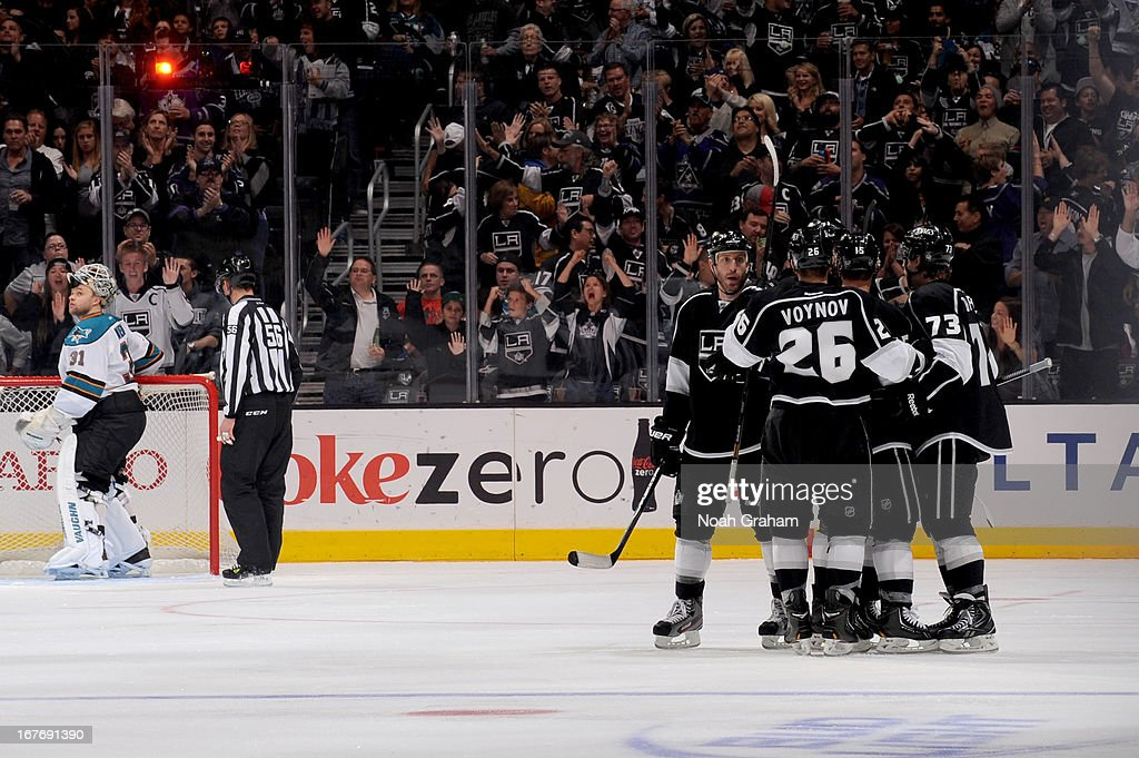 The Los Angeles Kings celebrate after a goal against the San Jose Sharks at Staples Center on April 27, 2013 in Los Angeles, California.