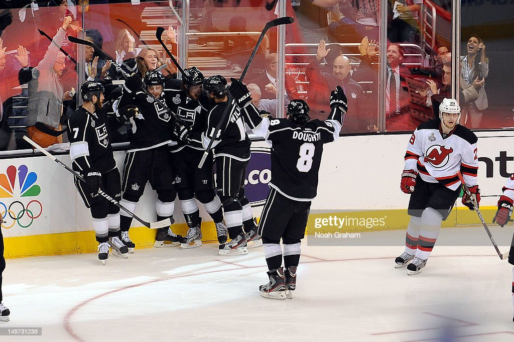 The Los Angeles Kings celebrate after a goal by <a gi-track='captionPersonalityLinkClicked' href=/galleries/search?phrase=Anze+Kopitar&family=editorial&specificpeople=634911 ng-click='$event.stopPropagation()'>Anze Kopitar</a> #11 against the New Jersey Devils in Game Three of the 2012 Stanley Cup Final at Staples Center on June 4, 2012 in Los Angeles, California.