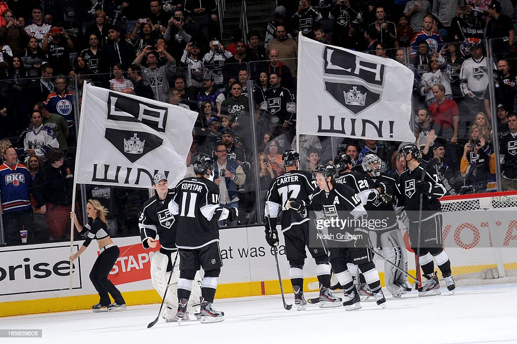 The Los Angeles Kings celebrate after defeating against the Edmonton Oilers at Staples Center on April 6, 2013 in Los Angeles, California.