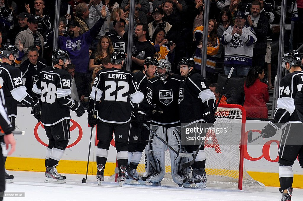 The Los Angeles Kings celebrate after defeating the Anaheim Ducks at Staples Center on April 13, 2013 in Los Angeles, California.