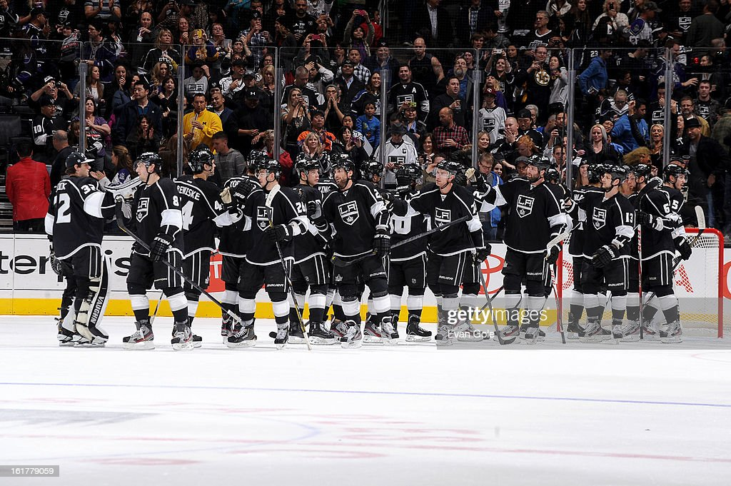 The Los Angeles Kings celebrate after defeating the Columbus Blue Jackets at Staples Center on February 15, 2013 in Los Angeles, California.