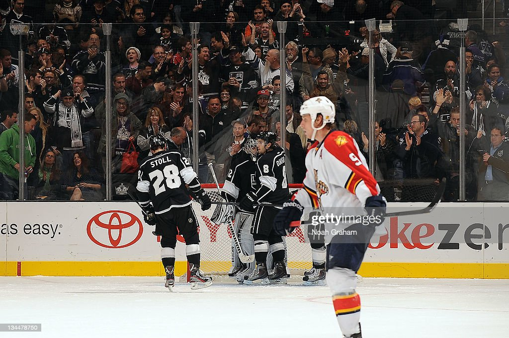 The Los Angeles Kings celebrate after defeating the Florida Panthers at Staples Center on December 1, 2011 in Los Angeles, California.