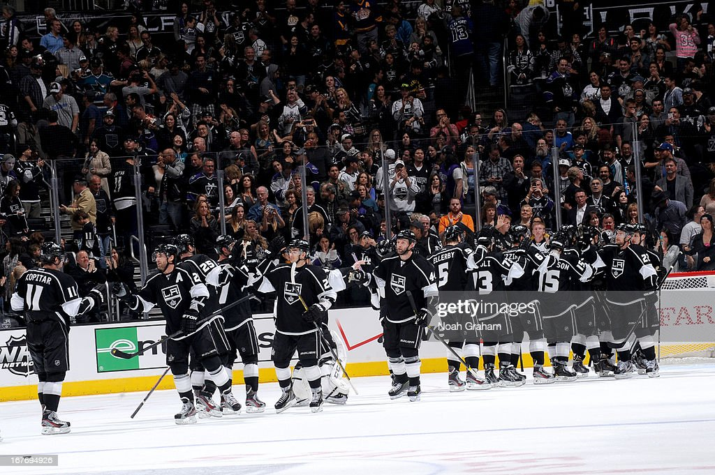 The Los Angeles Kings celebrate after defeating the San Jose Sharks at Staples Center on April 27, 2013 in Los Angeles, California.
