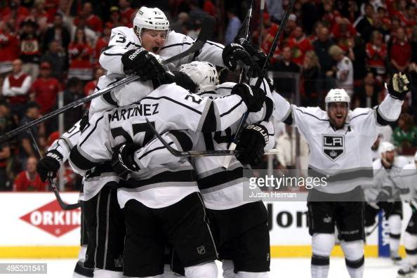 The Los Angeles Kings celebrate defeating the Chicago Blackhawks 5 to 4 in overtime in Game Seven to win the Western Conference Final in the 2014...