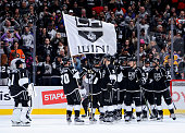 The Los Angeles Kings celebrate their 21 win over the Philadelphia Flyers on January 2 2016 at STAPLES Center in Los Angeles California