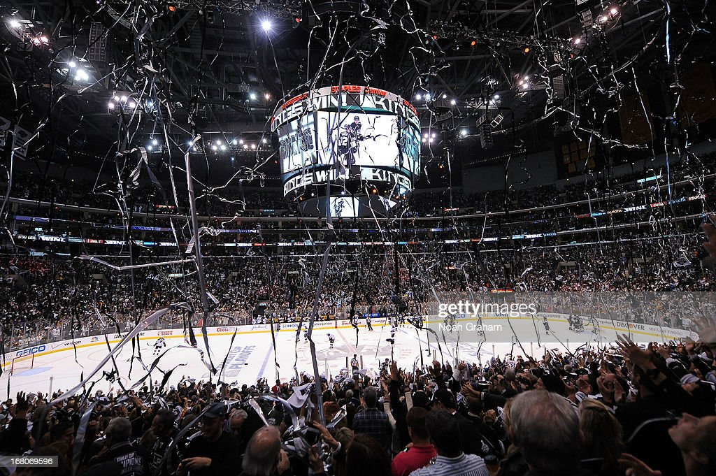 The Los Angeles Kings defeat the St. Louis Blues in Game Three of the Western Conference Quarterfinals during the 2013 NHL Stanley Cup Playoffs at Staples Center on May 4, 2013 in Los Angeles, California.