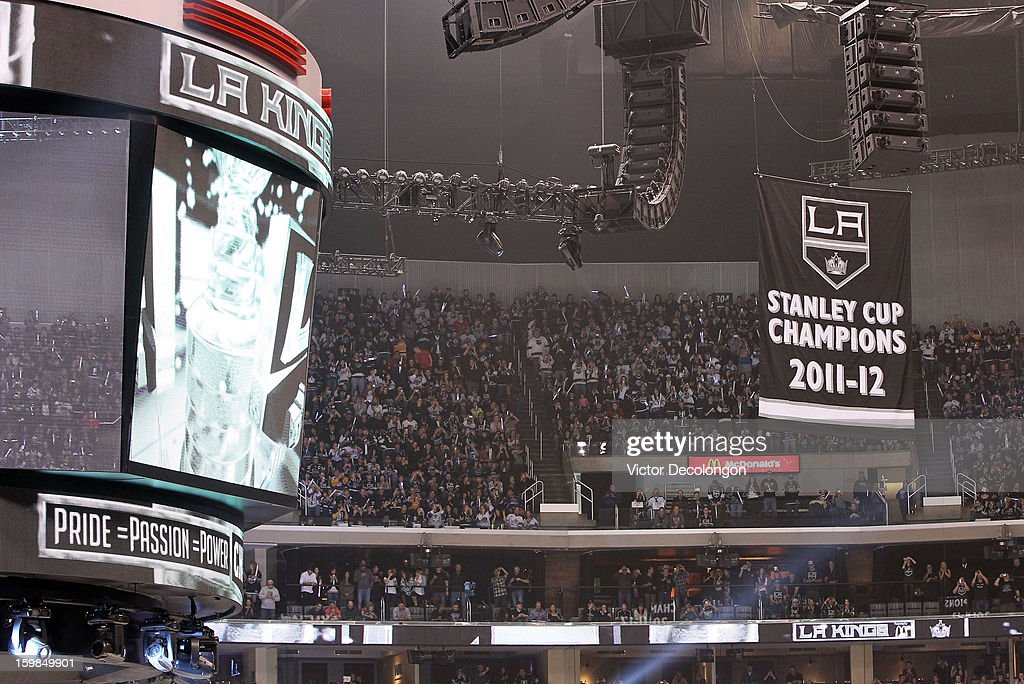 The Los Angeles Kings fans look at the 2011-2012 Stanley Cup Championship Banner from the third level seates prior to the game against the Chicago Blackhawks at Staples Center on January 19, 2013 in Los Angeles, California. The Blackhawks defeated the Kings 5-2.