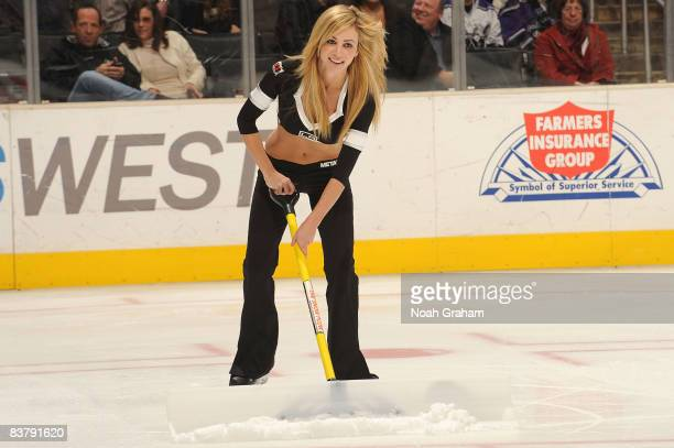 The Los Angeles Kings ice girls skates on the ice in new uniforms during the game Colorado Avalanche on November 22 2008 at Staples Center in Los...