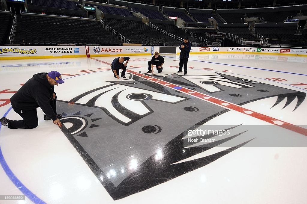 The Los Angeles Kings kick-off the club's 2012-13 Regular Season with a press conference featuring Kings Governor Tim Leiweke, President/General Manager Dean Lombardi , President, Business Operations Luc Robitaille and Head Coach Darryl Sutter at Staples Center on January 10, 2013 in Los Angeles, California.