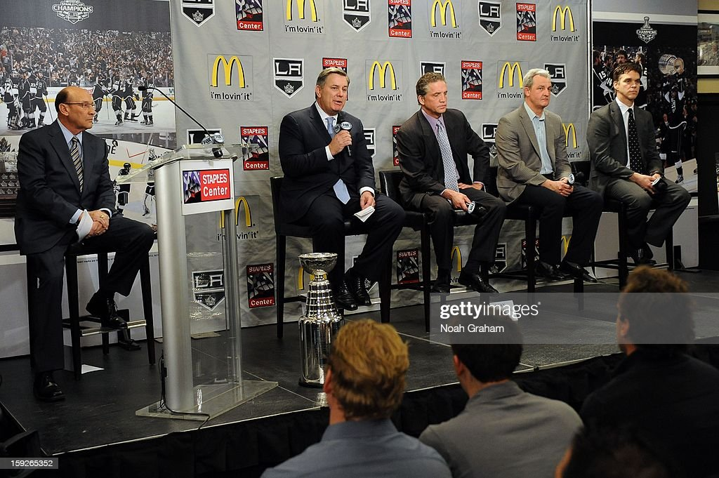The Los Angeles Kings kick-off the club's 2012-13 Regular Season with a press conference featuring Kings Governor Tim Leiweke, President/General Manager Dean Lombardi , President, Business Operations Luc Robitaille and Head Coach Darryl Sutter while Jonathan Quick, Matt Green and Jarret Stoll look on at Staples Center on January 10, 2013 in Los Angeles, California.