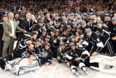The Los Angeles Kings pose together with the Stanley Cup in a group photo after defeating the New Jersey Devils in Game Six of the 2012 Stanley Cup...